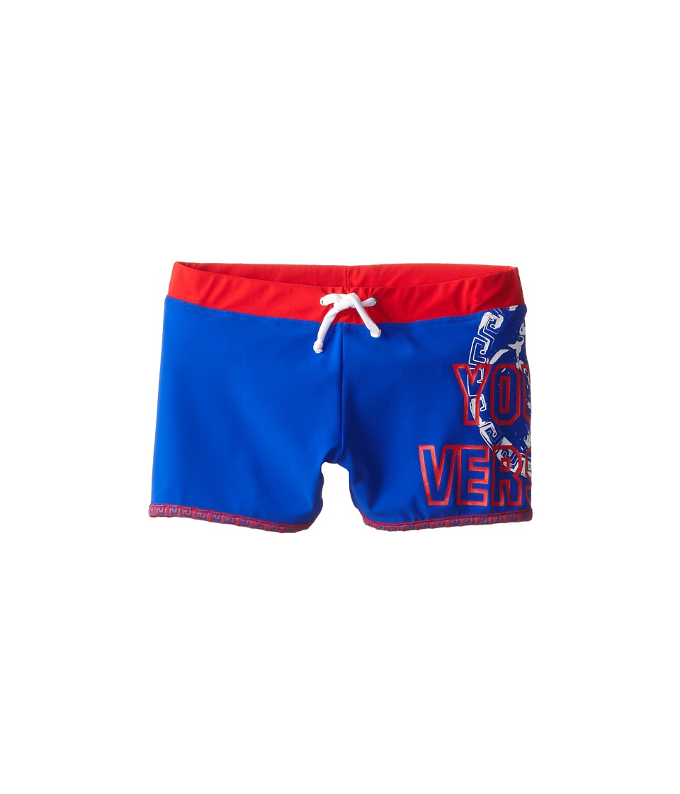 Versace Kids - Swim Trunks w/ Logo Stamp (Little Kids/Big Kids) (Blue/Red) Boy