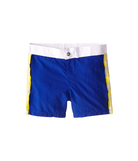 Versace Kids - Swim Shorts w/ Side Logo Print (Big Kids) (Blue) Boy's Swimwear
