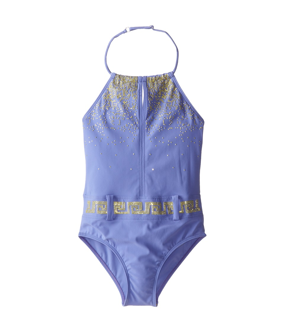 Versace Kids - One-Piece Studded Halter Swimsuit (Toddler/Little Kids/Big Kids) (Lilac) Girl
