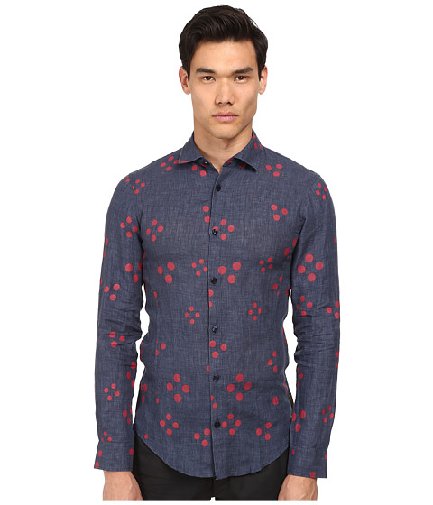 Armani Jeans - Dot Print L/S Woven (Navy/Red Dot) Men's Long Sleeve Button Up