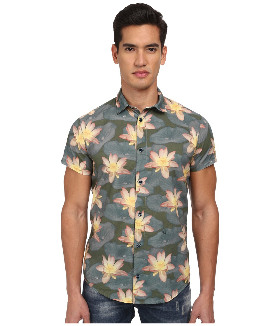 Armani Jeans - Floral S/S Woven (Green/Teal) Men's Short Sleeve Button Up