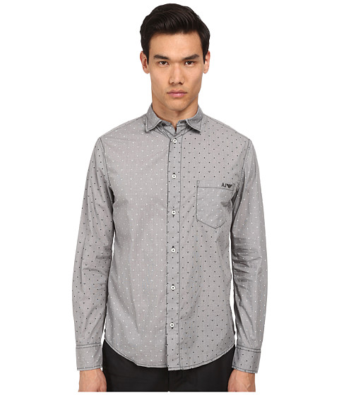 Armani Jeans - Micro Printed Woven (Dual Grey) Men's Long Sleeve Button Up