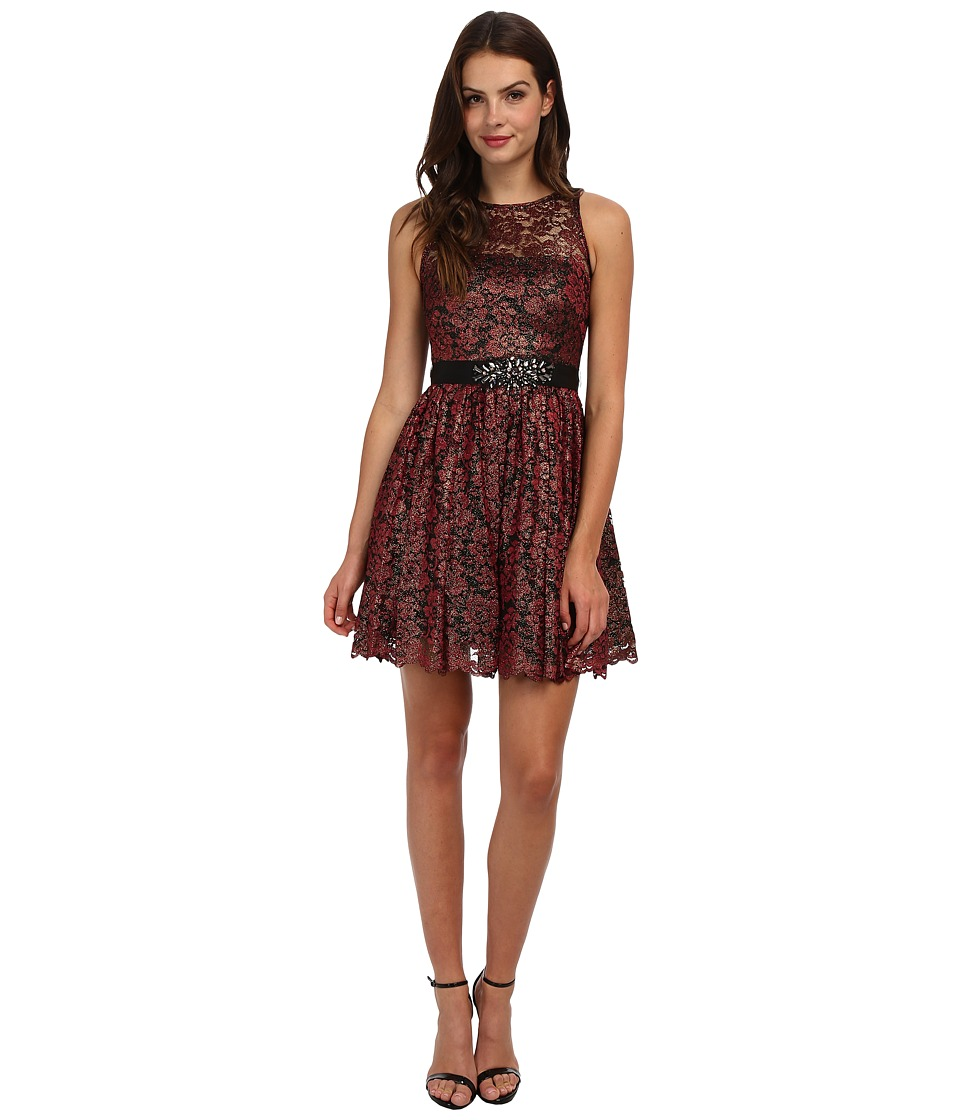 Adrianna Papell - Halter Foiled Lace Dress (Ruby) Women's Dress