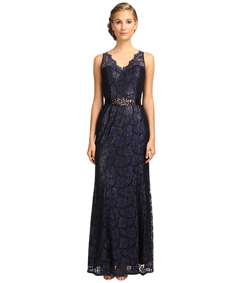 Adrianna Papell - V-Neck Mermaid Gown (Blue Purple) Women's Dress