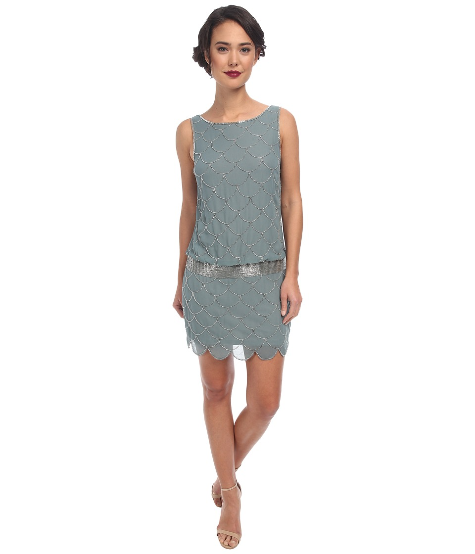 Adrianna Papell - Short Fish Scale Bead Dress (Slate) Women's Dress