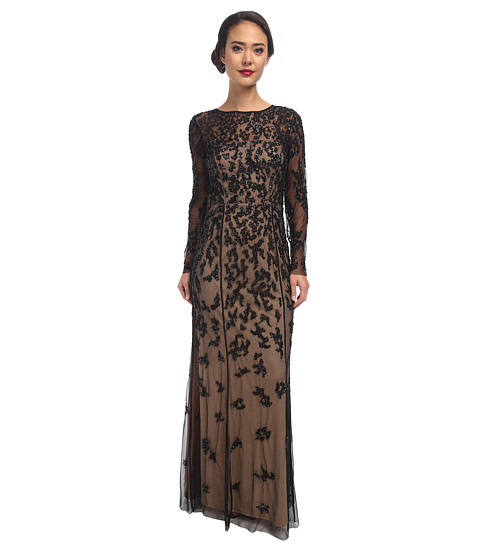 Adrianna Papell - Patchy Floral Beaded Illusion Gown (Black Nude) Women's Dress
