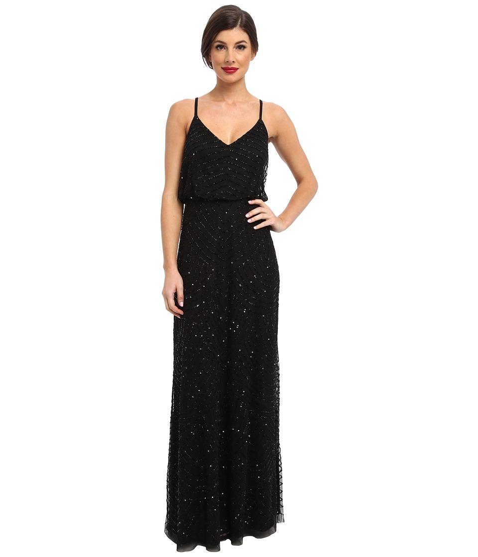 Adrianna Papell - Long Deco Bead Blouson (Black) Women's Dress