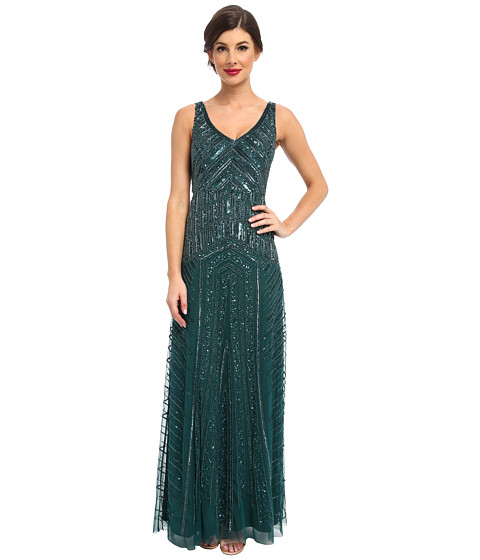 Adrianna Papell - Long Beaded Dress (Hunter) Women's Dress