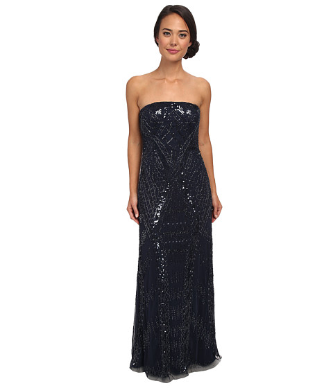 Adrianna Papell - Strapless Beaded Gown (Midnight) Women