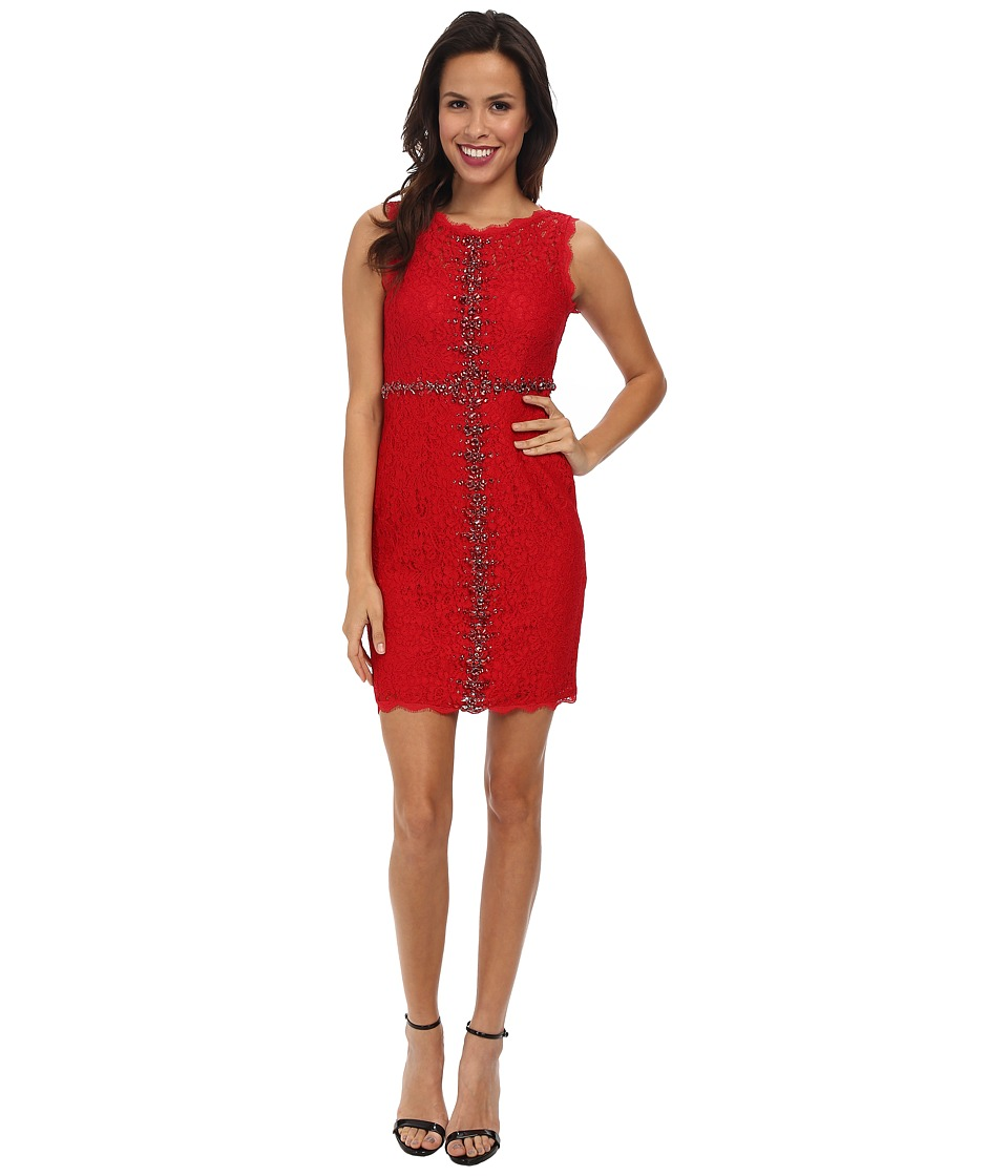 Adrianna Papell - Sleeveless Embellished Lace (Red) Women's Dress