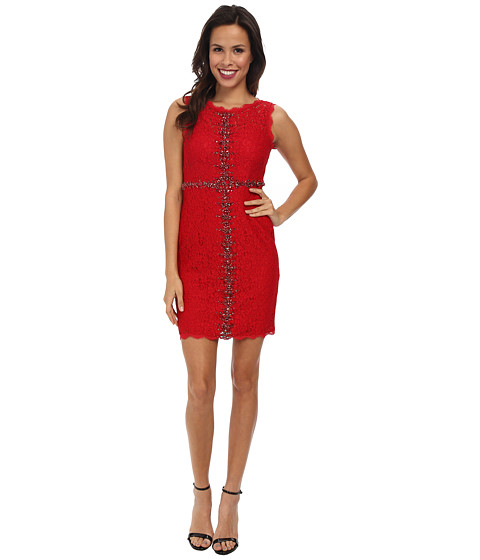 Adrianna Papell - Sleeveless Embellished Lace (Red) Women