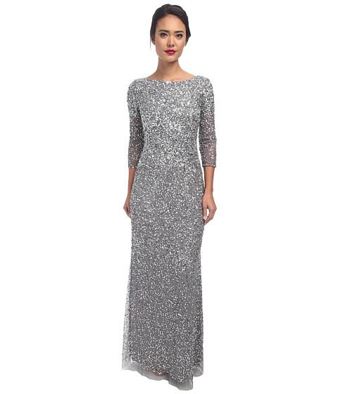 Adrianna Papell - Long Sequin Dress w/ Cap Sleeves (Grey) Women