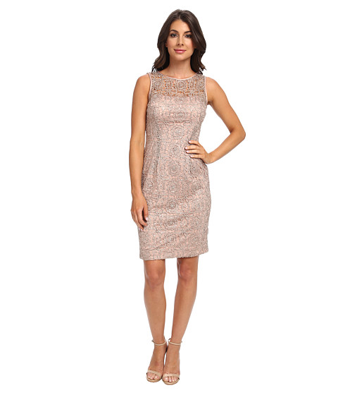 Adrianna Papell - Metallic Lace w/ Sequins (Rose Gold) Women's Dress