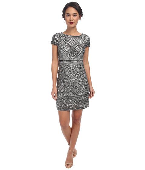 Adrianna Papell - Cap Sleeve Geo Bead Sheath (Slate) Women's Dress