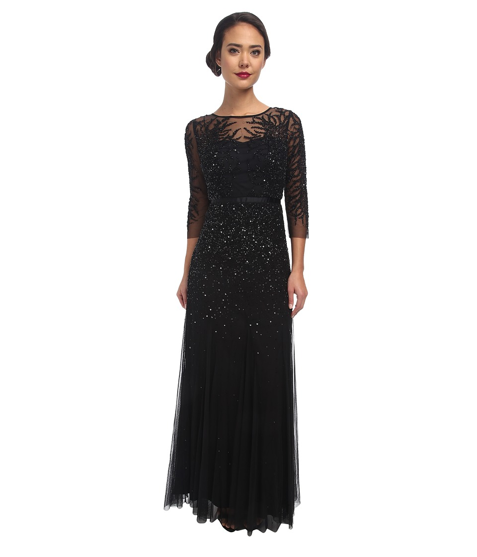 Adrianna Papell - Long Sleeve Beaded Gown (Black) Women's Dress