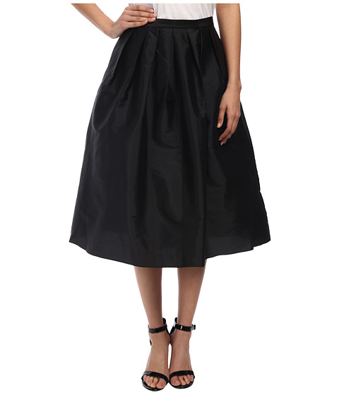 Adrianna Papell - Taffeta Mid Length Skirt (Black) Women's Skirt