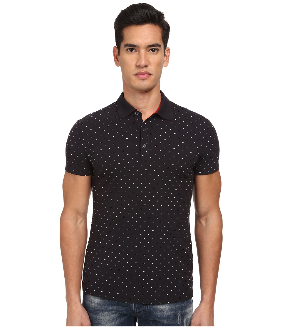Armani Jeans - All-Over Micro Printed Eagle Polo (Navy) Men