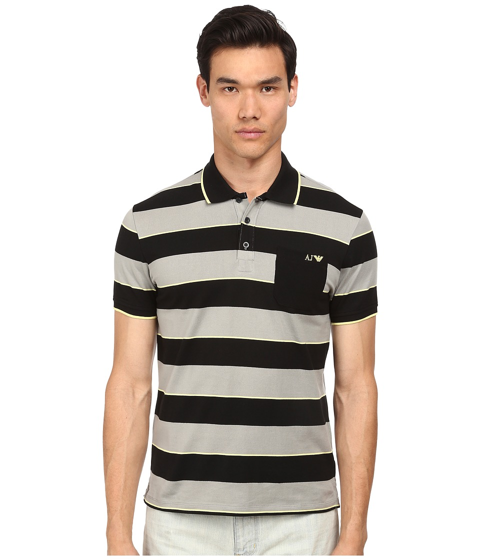 Armani Jeans - Yarn Dyed Striped Polo (Black/Grey) Men's Short Sleeve Pullover