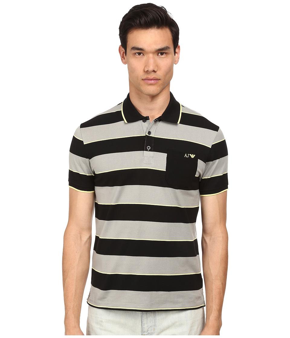 Armani Jeans - Yarn Dyed Striped Polo (Black/Grey) Men