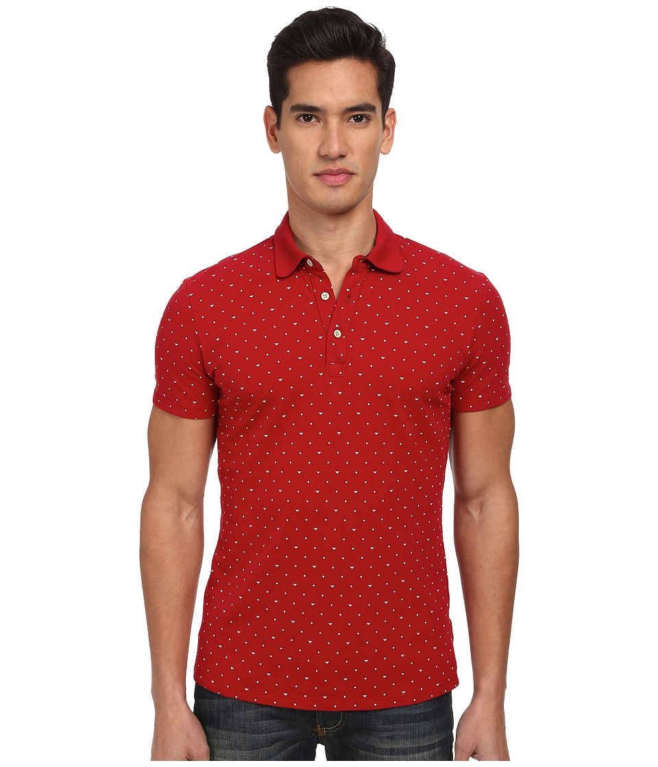 Image of Armani Jeans - All-Over Micro Printed Eagle Polo (Red) Men's Short Sleeve Pullover