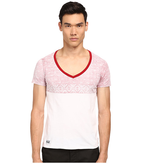 Armani Jeans - Stars V-Neck (White) Men's T Shirt