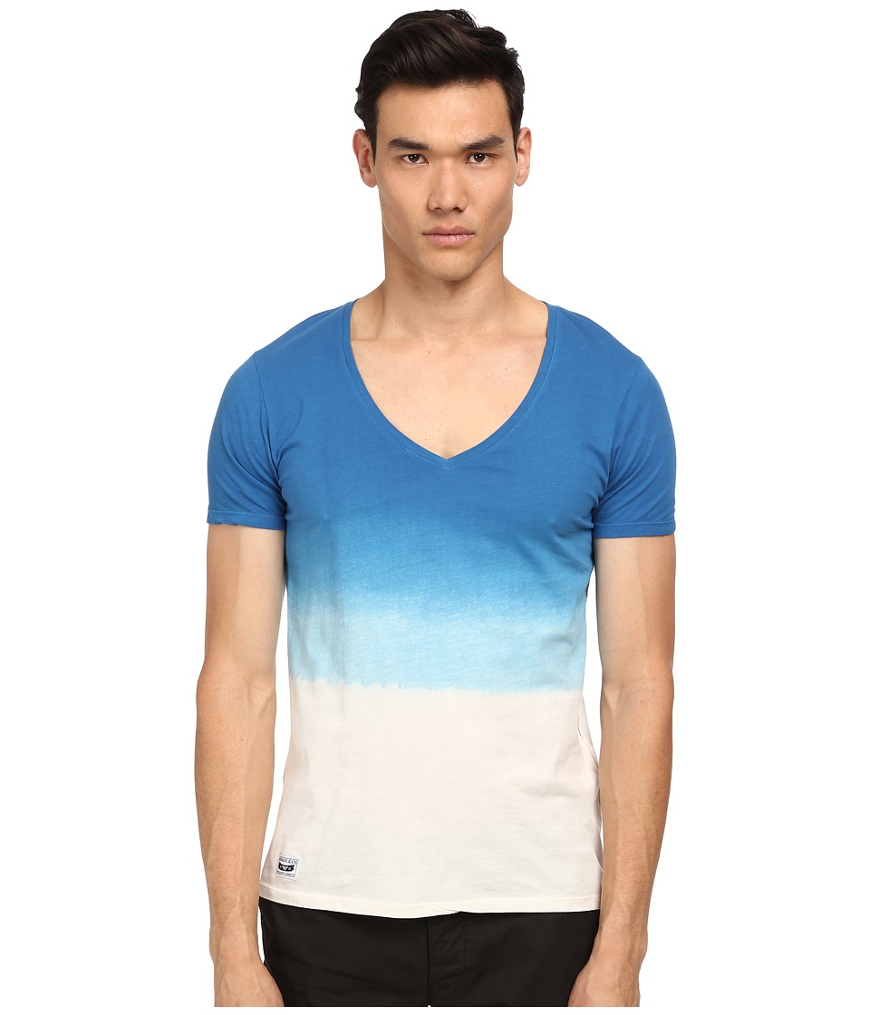 Armani Jeans - Ombre V-Neck (Blue/White) Men's T Shirt