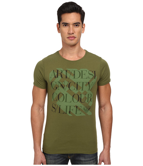 Armani Jeans - Design Tee (Green) Men's Short Sleeve Pullover