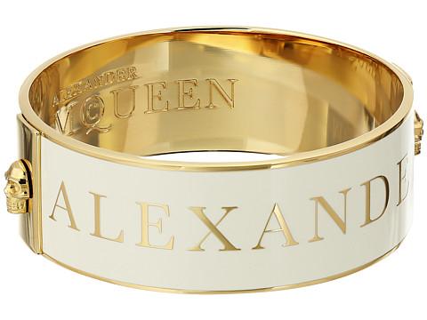 Alexander McQueen - Medium Enamel Skull (Gold/White) Bracelet