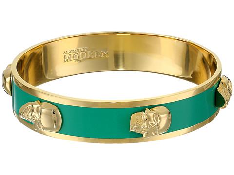 Alexander McQueen - 3D Enamel Skull 14mm (Green/Oro) Bracelet