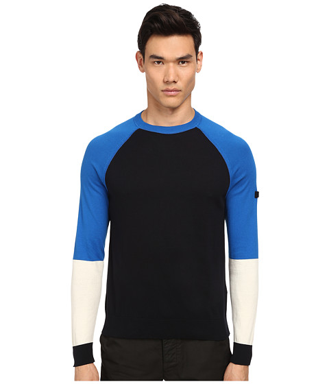 Armani Jeans - Color Block Crew Neck Sweater (Navy) Men's Sweater