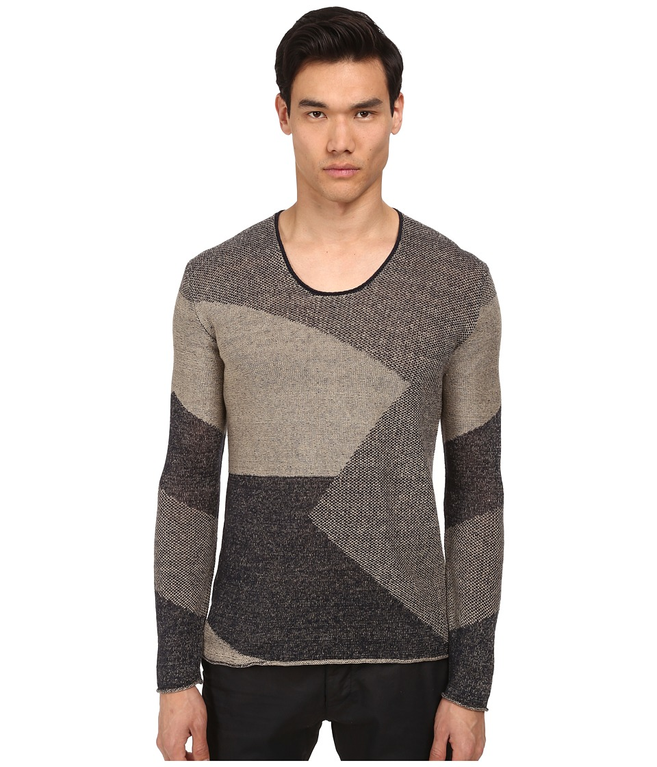 Armani Jeans - Linen Scoop Neck Sweater (Mutli) Men's Sweater