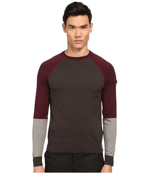 Armani Jeans - Color Block Crew Neck Sweater (Grey) Men