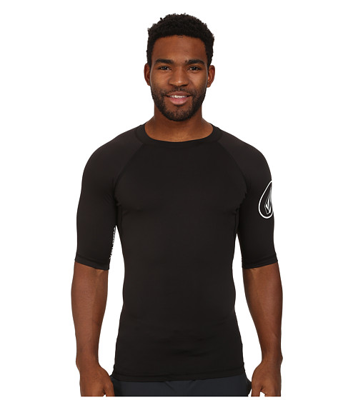Volcom - Solid S/S Rashguard (Black) Men's Swimwear