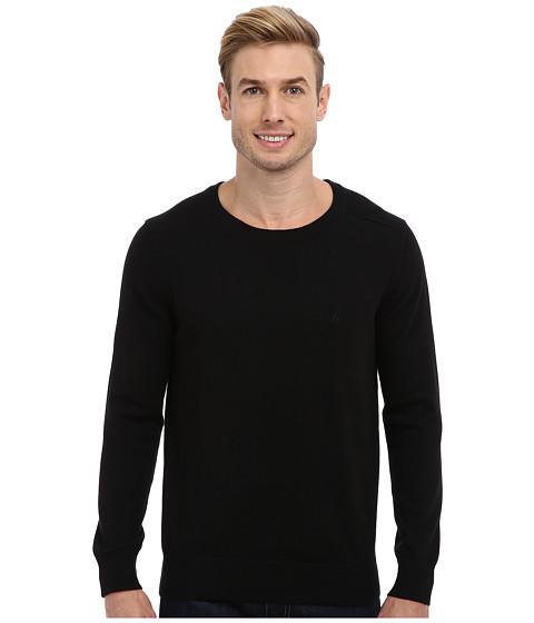 Nautica - 12GG Solid Crew Jersey Sweater (True Black) Men