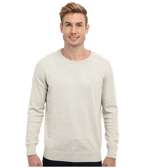 Nautica - 12GG Solid Crew Jersey Sweater (Oatmeal Heather) Men's Sweater
