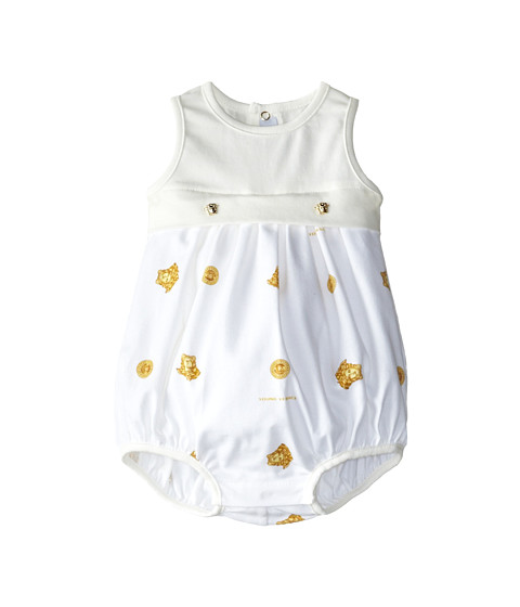 Versace Kids - Tank Bubble One-Piece w/ All Over Medusa Print (Infant) (White/Gold) Kid's Jumpsuit & Rompers One Piece
