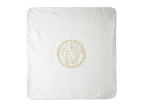 Versace Kids - Blanket w/ Medusa Embroidery and Medusa Print (Infant) (White/Gold) Accessories Travel