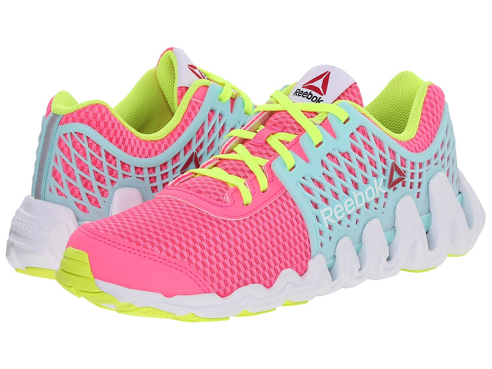 Reebok Kids - ZigTech Big N Fast EX (Big Kid) (Solar Pink/Crystal Blue/White/Solar Yellow) Girls Shoes