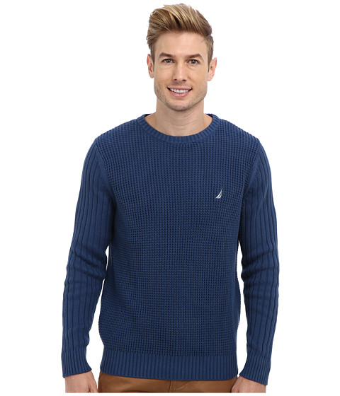 Nautica - 7GG Mixed Stitch Crew Texture Sweater (Ensign Blue) Men's Sweater