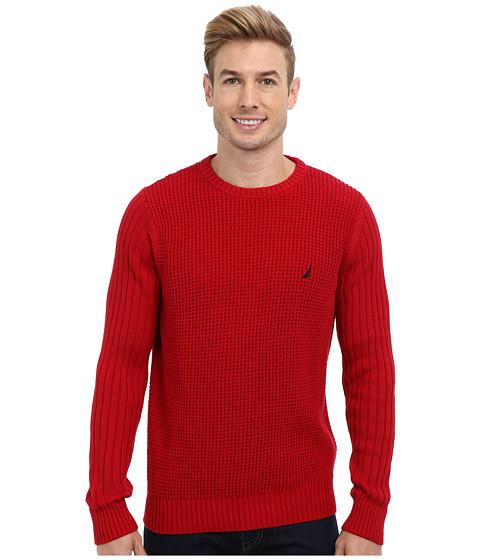 Nautica - 7GG Mixed Stitch Crew Texture Sweater (Nautica Red) Men