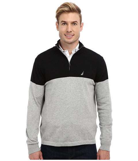 Nautica - 1/4 Zip Color Block Jersey Sweater (Grey Heather) Men