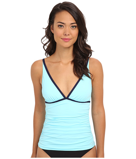 Tommy Bahama - Deck Piping Over The Shoulder V-Neck Tankini (Swimming Pool/Mare) Women's Swimwear