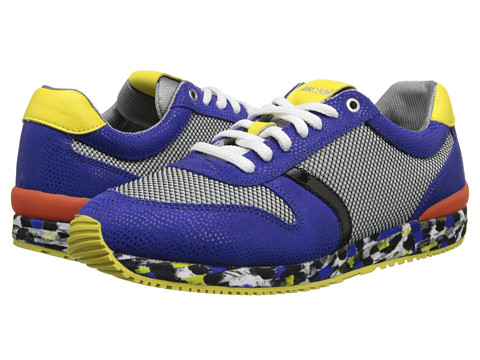 Just Cavalli - Mesh and Reptile Printed Leather Sneaker (Blue) Men's Shoes