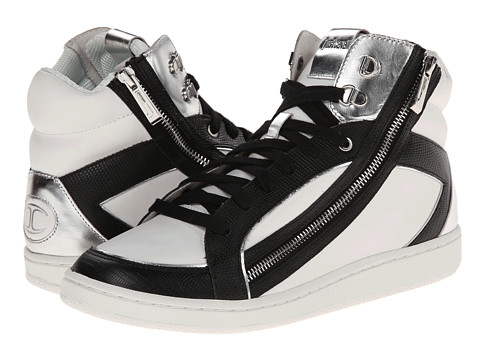 Just Cavalli - Leather and Laminated Hi-Top (White) Men's Shoes