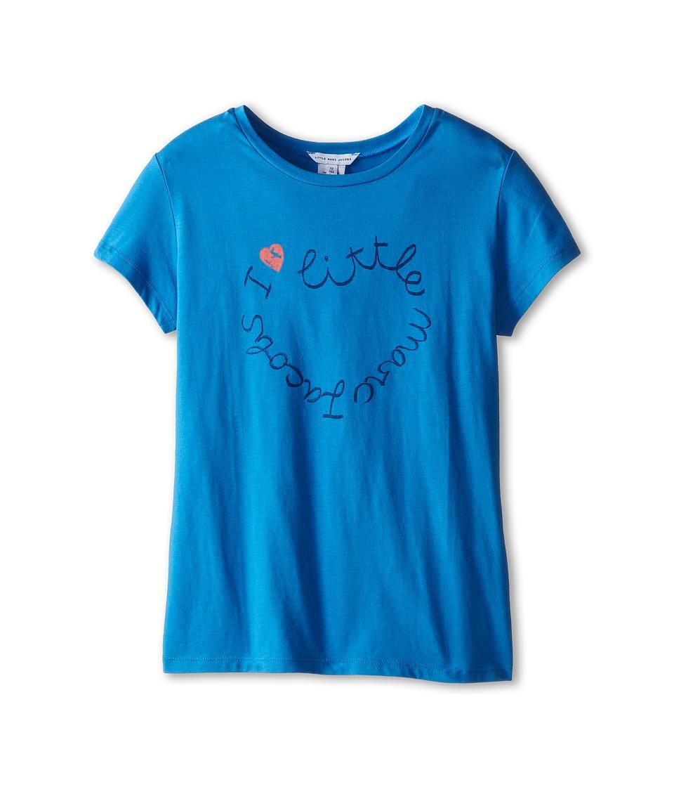 Little Marc Jacobs - Short Sleeve Printed Logo Tee Shirt (Big Kid) (Blue Logo) Girl's Short Sleeve Pullover