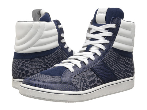 Just Cavalli - Reptile Printed and Soft Leather Hi-Top (Dark Blue) Men's Shoes