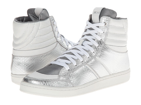 Just Cavalli - Metallic Leather Hi-Top (Silver) Men