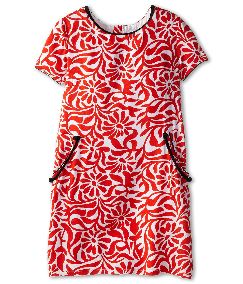 Little Marc Jacobs - Tropical Print Woven Dress with Contrast Trim (Big Kid) (Ecru Rose) Girl