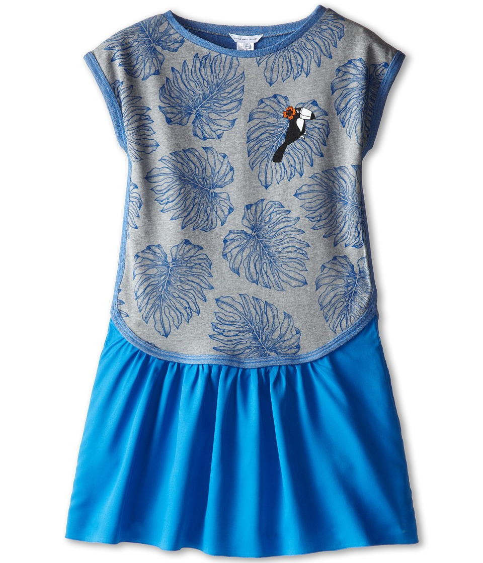 Little Marc Jacobs - Printed Fleece Dress with Woven Bottom (Big Kid) (Grey Blue) Girl's Dress