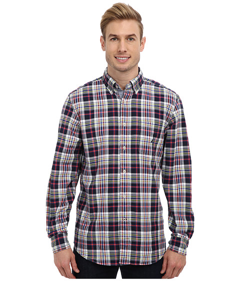 Nautica - L/S Red Plaid Oxford Twill Woven Shirt (Navy Seas) Men's Clothing